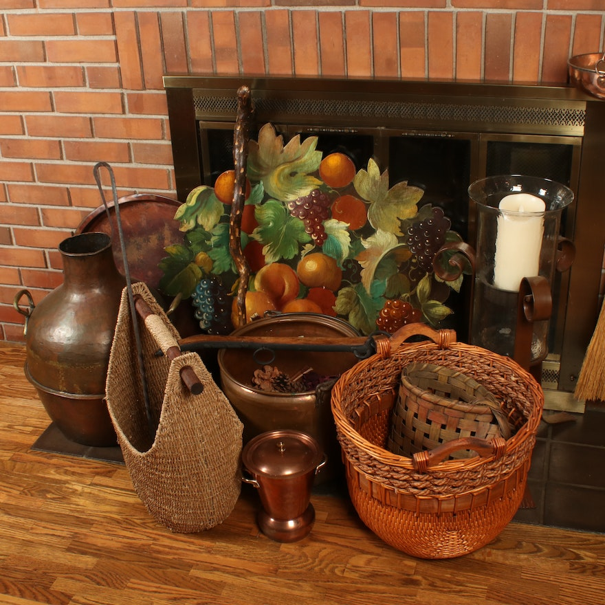 Rustic Baskets, Vessels and Decor Including Copper and Iron