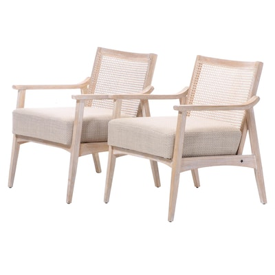 "Pair of Ink + Ivy ""Kelly"" Modernist Style Hardwood and Cane Back Lounge Chairs"