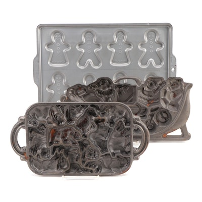 Cast Iron Baking Molds with Aluminum Gingerbread Man Cookie Sheet