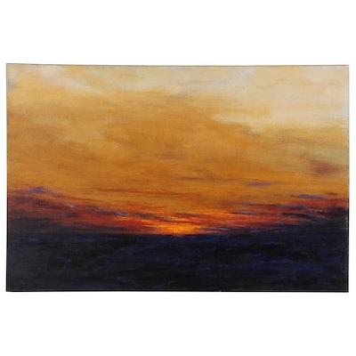 "Sanna Acrylic Painting ""Golden Glow"", 2018"