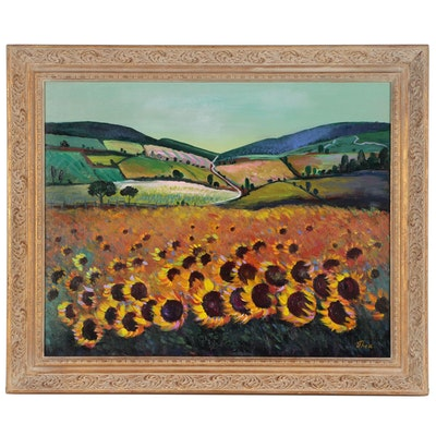 """Thea Mamukelashvili Acrylic Painting """"Sunflowers"""""""