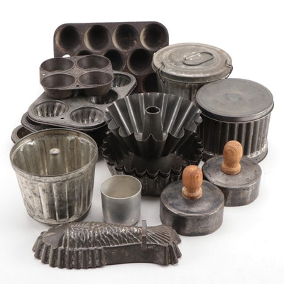 Cast Iron and Aluminum Baking Tins, Pans, and Molds, Early to Mid-20th Century
