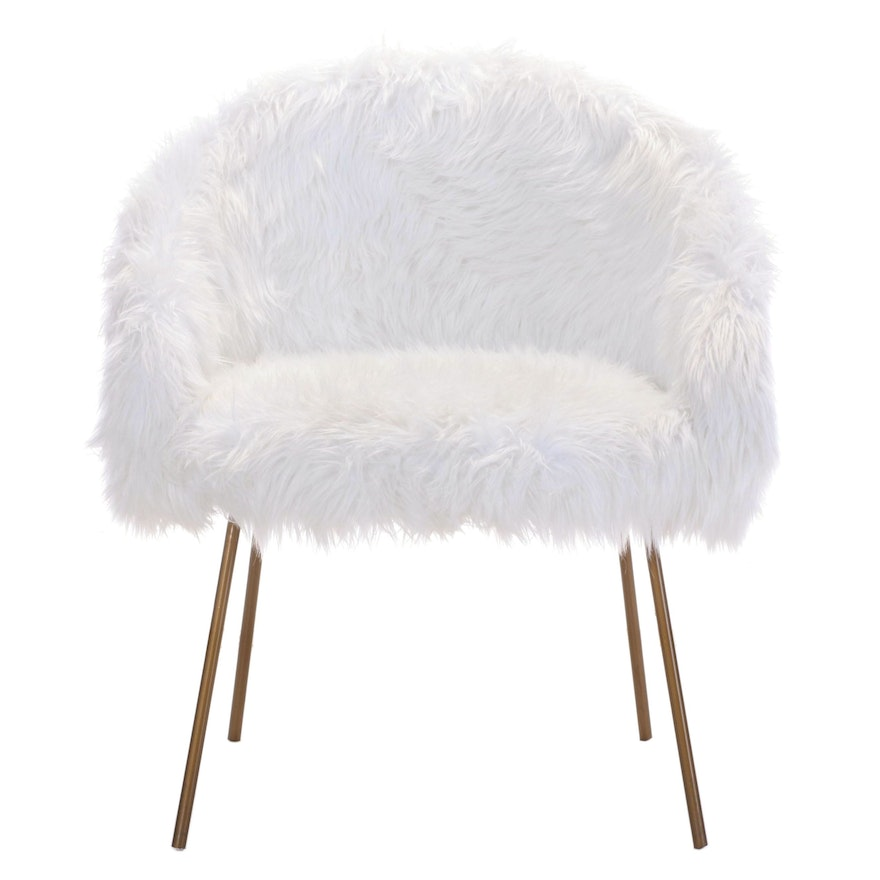 Inspired Home Modernist Style Gold Tone Metal and White Faux-Fur Tub Chair