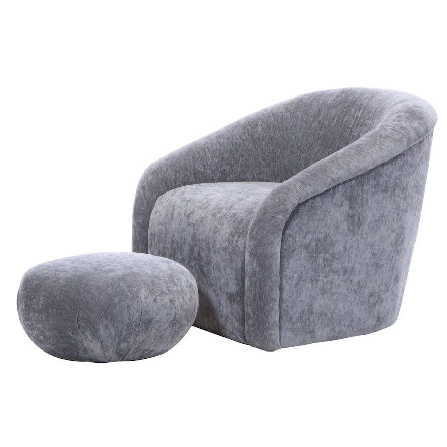 "TŌV Furniture ""Boboli"" Art Deco Style Grey Chenille Club Chair and Ottoman"