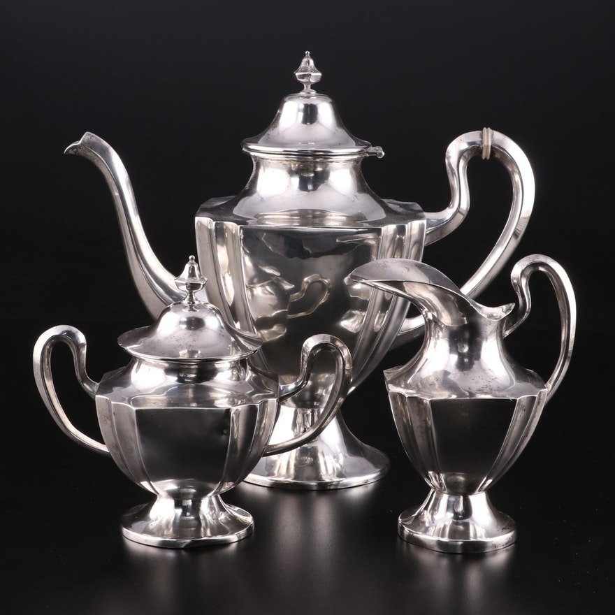 Lilyan Mexican Colonial Style Sterling Silver Coffee Set, Mid-20th Century