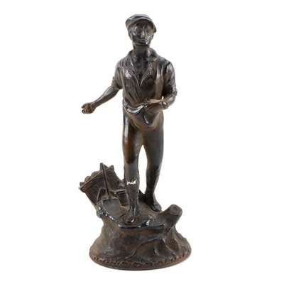 Thanhardt Burger Corp. Chalkware Statuette of Rural Figure