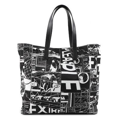 Prada Comic Print Tote Bag in Black and White Tessuto Nylon and Saffiano Leather