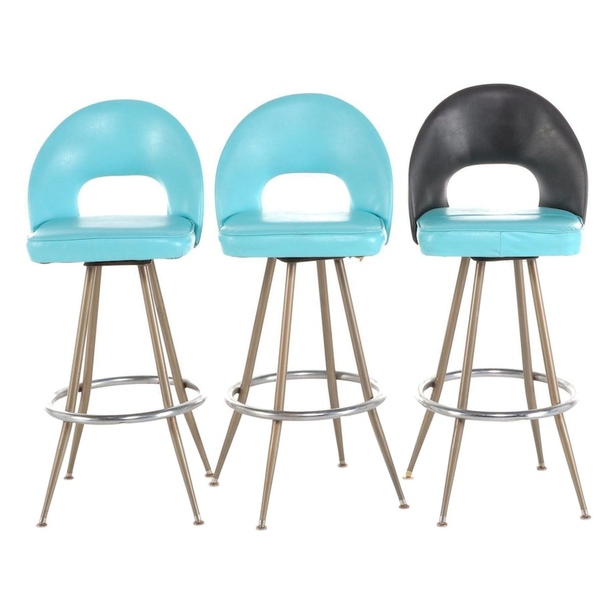 Admiral Chrome Corp. Vinyl Upholstered Swivel Barstools, Mid-20th Century