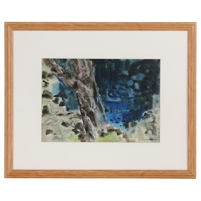 Carl Zimmerman Watercolor Painting of Tree