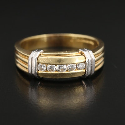 18K Gold Diamond Ring With Platinum Accents