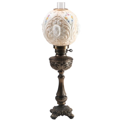 Victorian Embossed Brass Parlor Lamp with Painted Milk Glass Globe Shade