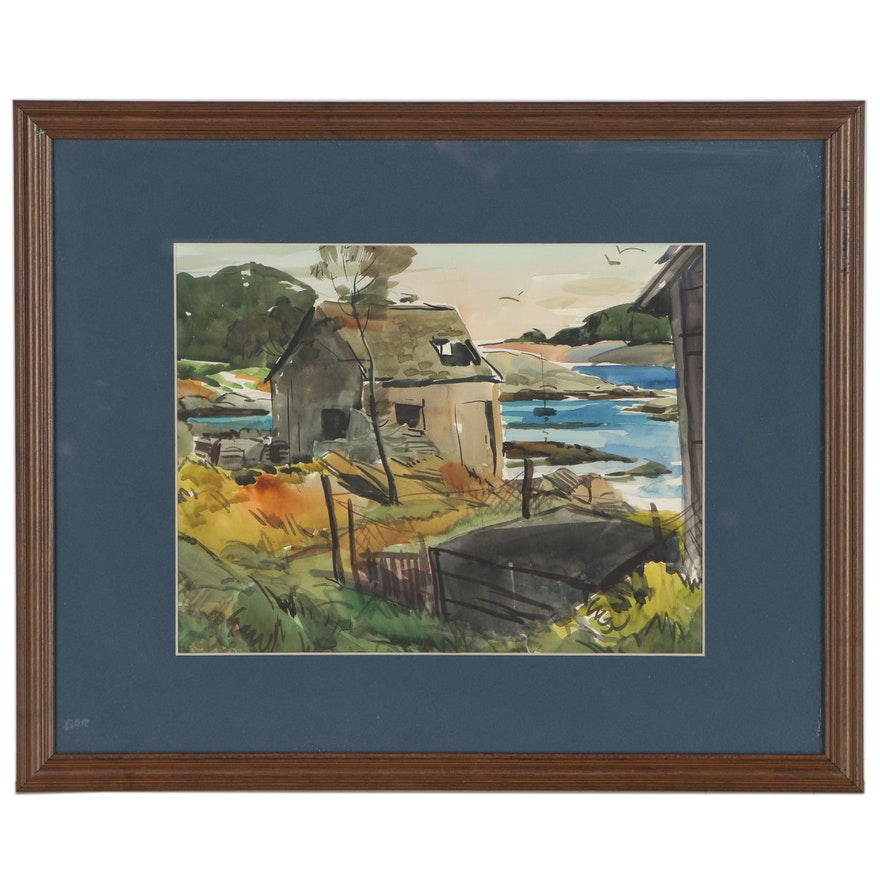Landscape with Cottage Watercolor Painting, Mid to Late 20th Century