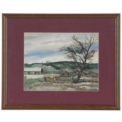 Carl Zimmerman Pastoral Landscape Watercolor Painting