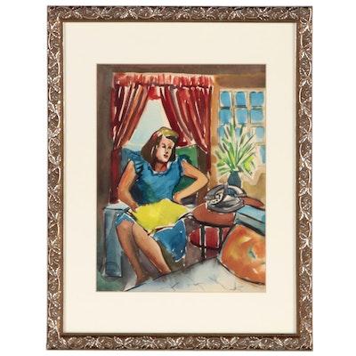 Carlos Cervantes Watercolor Painting of Interior Scene