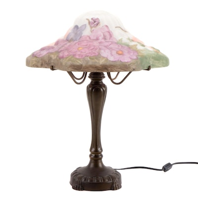 Painted Glass Shade and Bronze-Finish Base Table Lamp