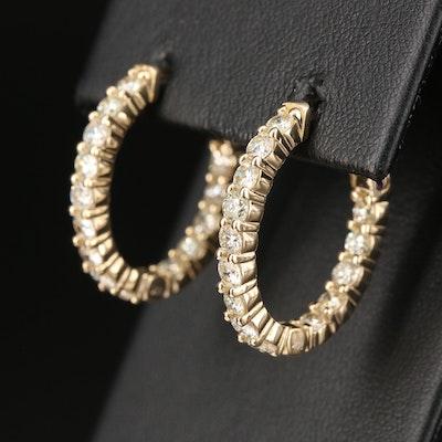 14K Gold 2.52 CTW Diamond Inside-Out Hoop Earrings
