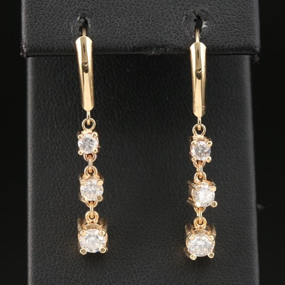 14K Gold 1.35 CTW Diamond Dangle Earrings
