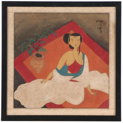 Mo Nong Gouache Painting of Chinese Woman