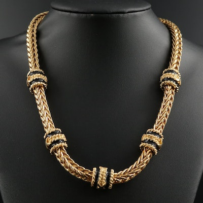 Foxtail Style Chain Necklace Featuring Enamel Accents