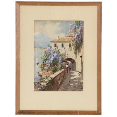 Mediterranean Landscape Gouache Painting, Mid-20th Century
