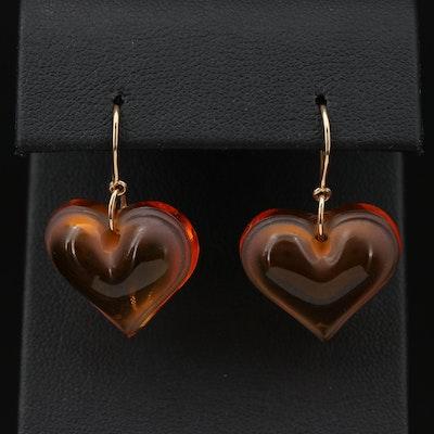 Lalique Orange Glass Heart Earrings