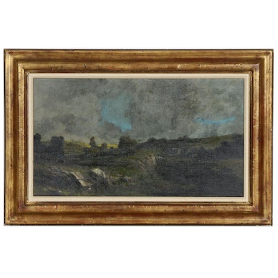 Stephen Woodburn Rocky Field Landscape Oil Painting, Mid to Late 20th Century