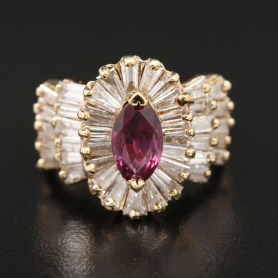 14K Gold Ruby and 2.00 CTW Diamond Ring