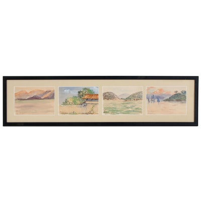 Mira G. Robison Asian Landscape Watercolor Paintings, Circa 1927