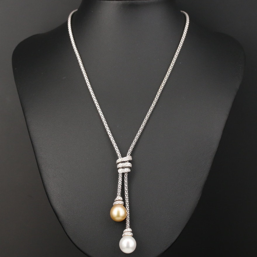 18K Gold Pearl and Diamond Negligee Necklace