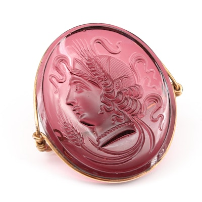 Purple Glass Cameo Brooch