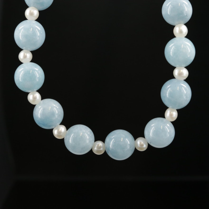Beaded Quench Crackled Quartz and Cultured Pearl Necklace With Sterling Clasp