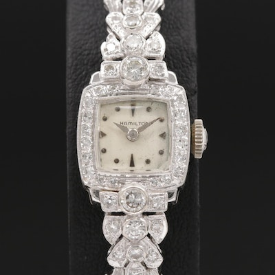 14K White Gold and 1.07 CTW Diamond Hamilton Stem Wind Wristwatch