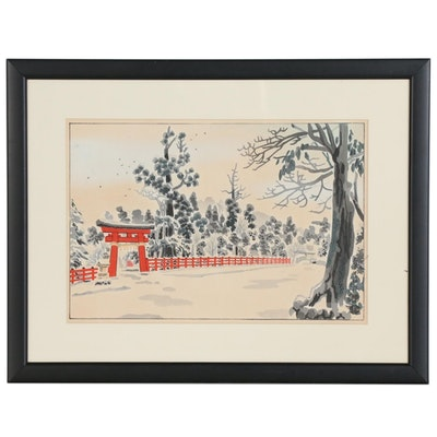 "Eiichi Kotozuka Woodblock ""Kamigamo Shrine"", circa 1940"