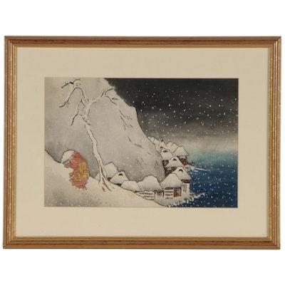 "Watercolor Painting after Utagawa Kuniyoshi ""Nichiren in the Snow at Tsukahara"""