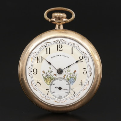 Illinois Gold Filled Open Face Pocket Watch,  Antique
