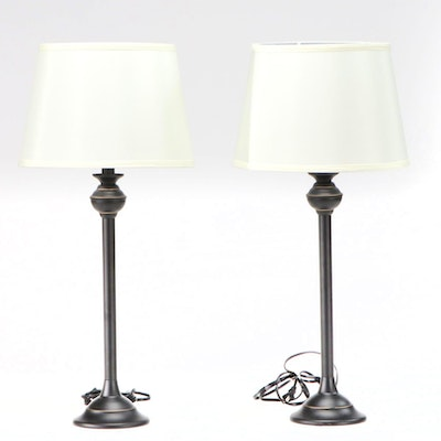 Pair of Metal Black and Gold Buffet Lamps