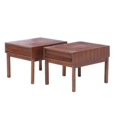 Pair of American of Martinsville Mid Century Modern Walnut Side Tables