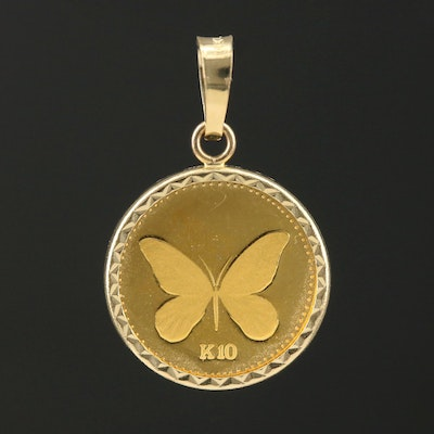 14K Gold Pendant with 1992 Papua New Guinea 10 Kina Gold Coin
