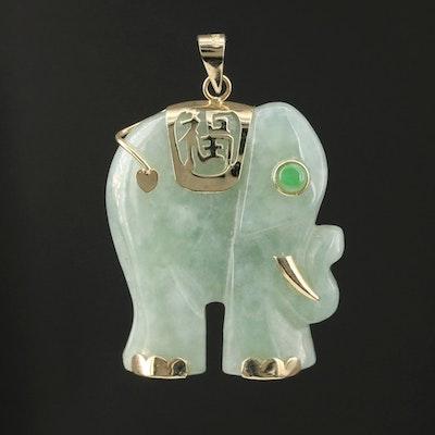 "14K Carved Jadeite ""Good Fortune"" Elephant Pendant"