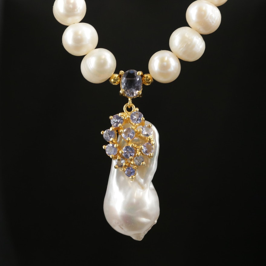 Sterling Silver Cultured Pearl and Tanzanite Necklace