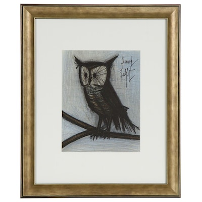"Bernard Buffet Color Lithograph ""The Little Owl"", 1967"
