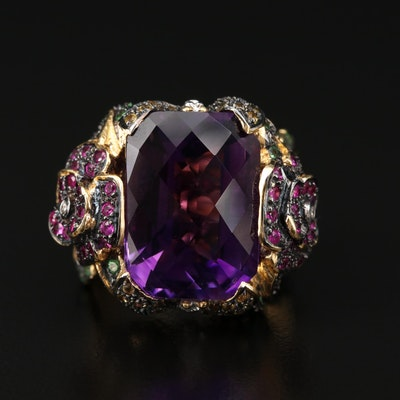18K Gold 16.91 CT Amethyst, Tsavorite, Diamond, Ruby and Sapphire Floral Ring
