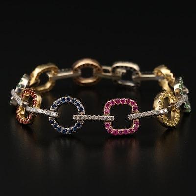 18K Gold 1.23 CTW Diamond, Sapphire and Emerald Geometric Link Bracelet