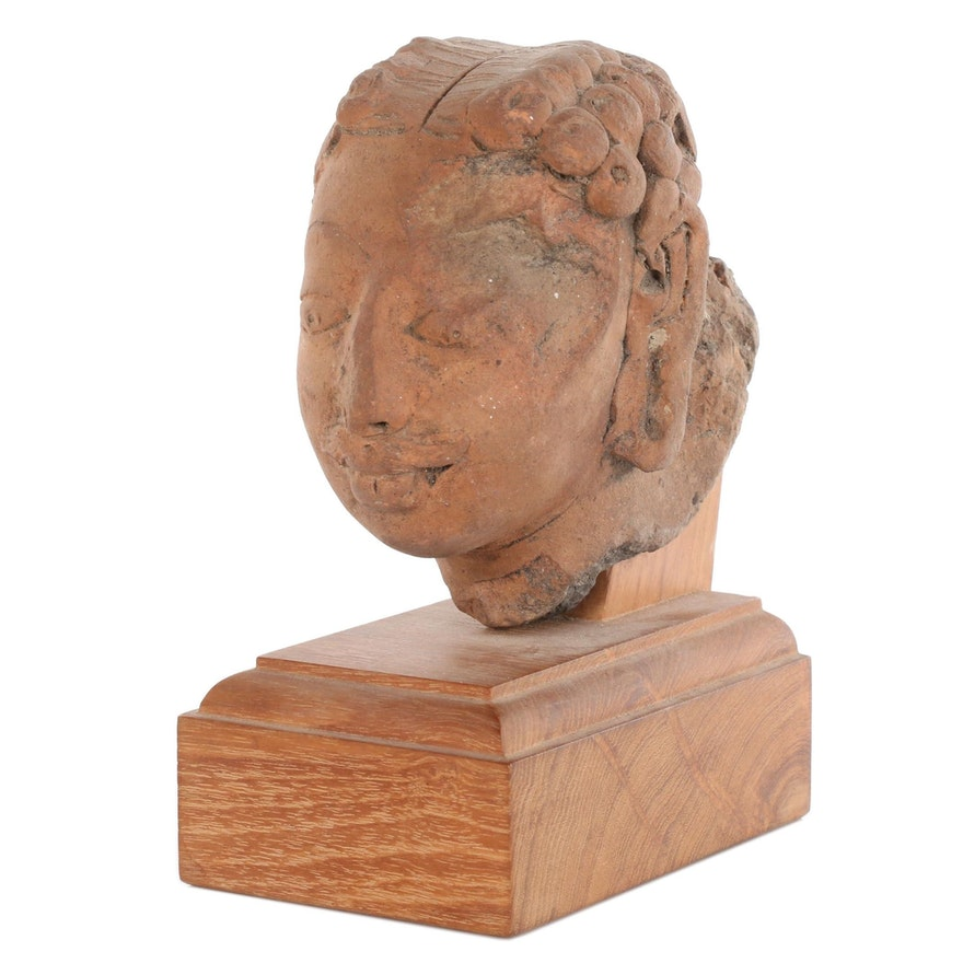 Indian Gupta Terracotta Head, Probably 7th Century