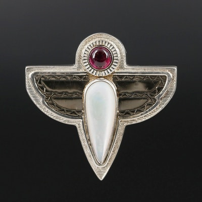 Victoria Adams for Relios Sterling Mother of Pearl and Rhodolite Garnet Pendant