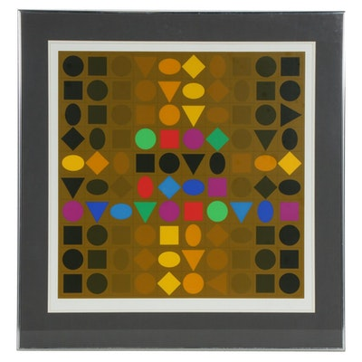 Victor Vasarely Op Art Serigraph, Late 20th Century