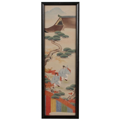 Japanese Style Embroidered Gouache Painting, 20th Century