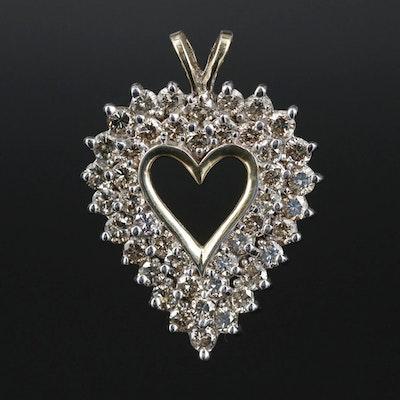 10K Gold 2.45 CTW Diamond Heart Pendant