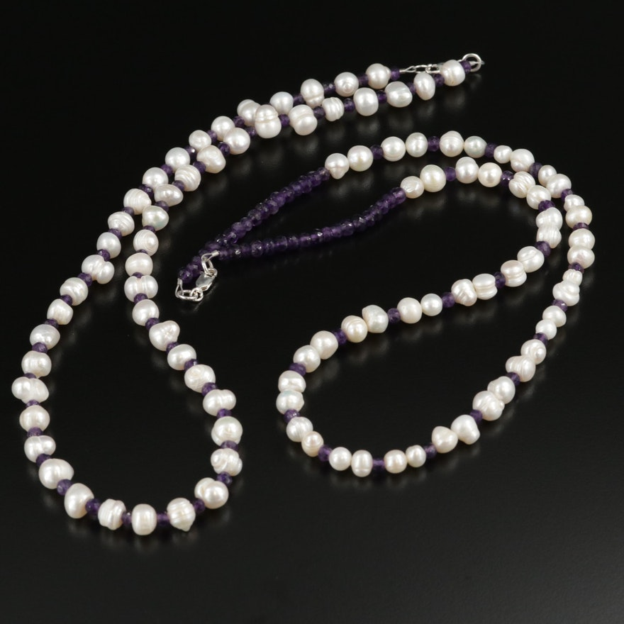 Sterling Silver Pearl and Amethyst Necklaces
