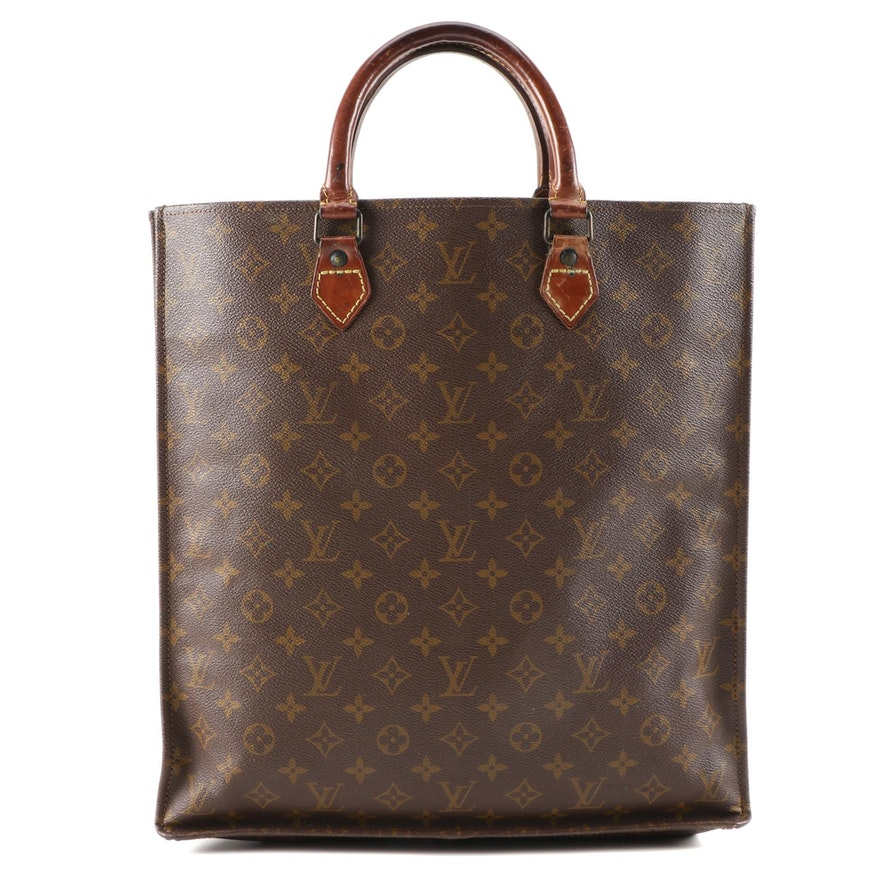 Louis Vuitton Sac Plat in Monogram Coated Canvas and Vachetta Leather